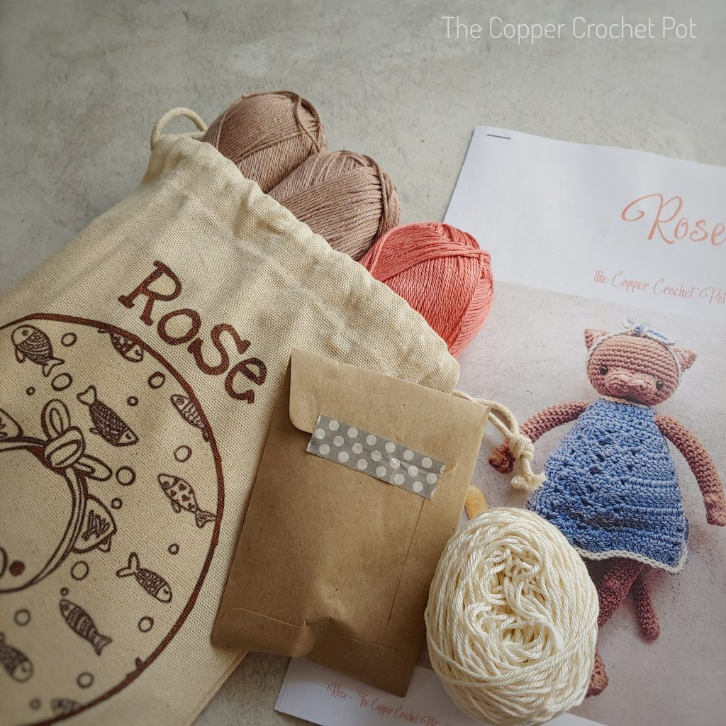 ROSE THE CAT KIT- FAWN, CORAL DRESS