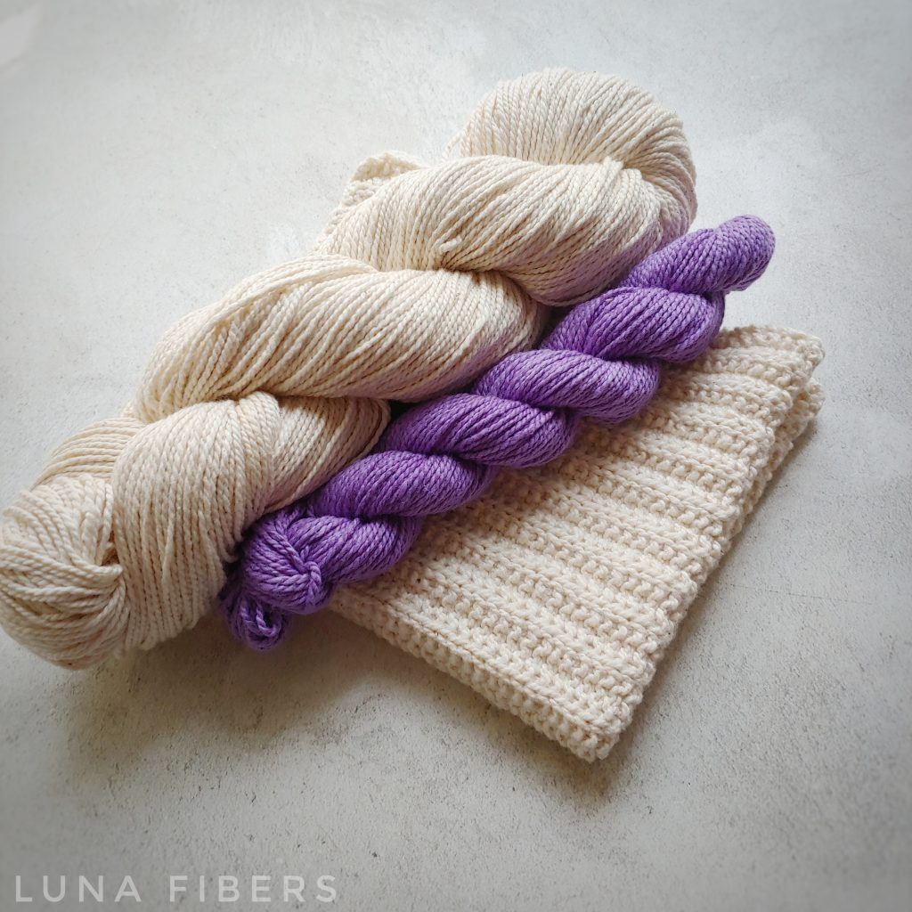 PURPLE KNITTED COTTON  DISH TOWEL KIT + LINK TO FREE PATTERN